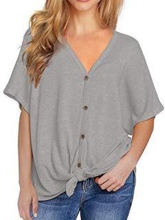 Hot Sale 2019 Summer New V-neck Button Short-sleeved T-shirt Bat Sleeve Twist Knot Cardigan gray XL