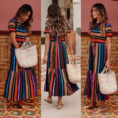 2019 Summer Explosion Short Sleeve Rainbow Stripe Print Dress Maxi Dress s as picture