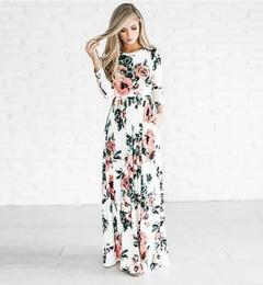 2019 Hot Sale Ladies Sexy Long-sleeved Print Dress Long Dress s white