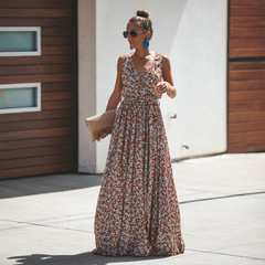 2019 New Spring Summer Bohemian Cotton Print Dress Long Skirt Women s as picture