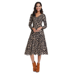 Original Design 2019 Spring New Female Leopard Long Sleeve Stitching Dress s as picture
