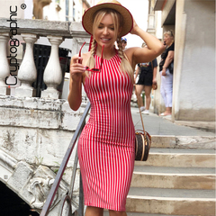 Red Striped Dresses Casual Backless Lace Up Dresses Summer Halter Bandage Bodycon Dress s red