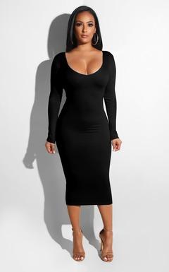 2019 Autumn Dress Women Long Sleeve Dress Sexy Slim Bodycon Dress Pencil Package Hips Spandex Dress s black