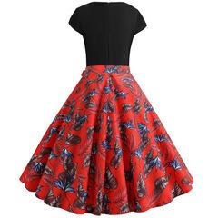 Hot Sale dresses Women's Fashion Elegant Round Neck Short-sleeved dresses Flower Print Puff Dress s as picture