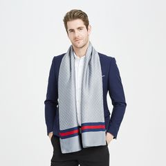 Autumn and winter new style silk scarf men's trend double-sided scarf long business silk scarf Gray