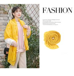 Fashion autumn and winter scarf female student simple autumn and winter female small scarf Yellow
