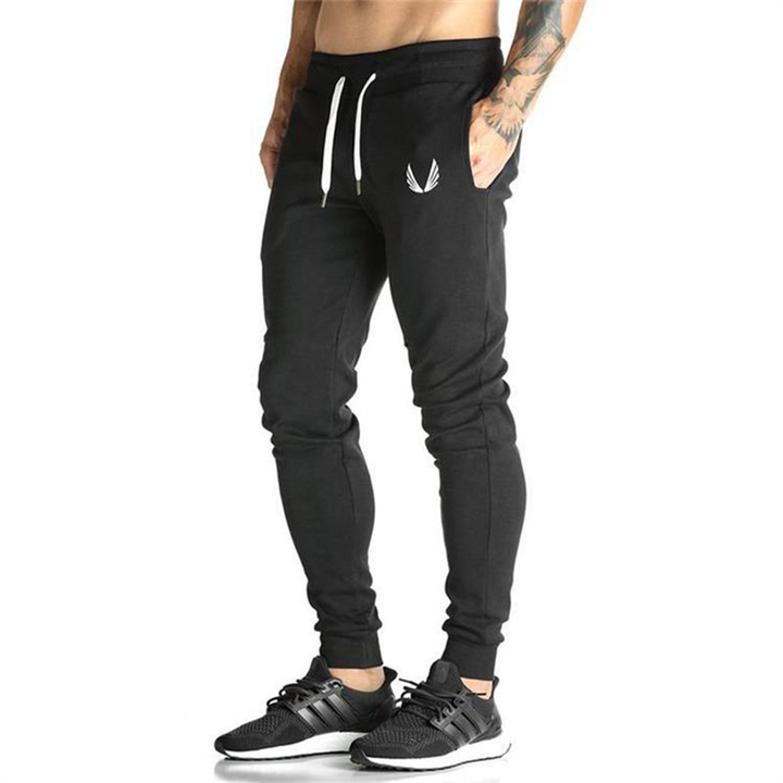 Fashion Mens Pants Casual Elastic Cotton  Fitness Workout Pants Skinny Sweatpants Trousers Pants black l