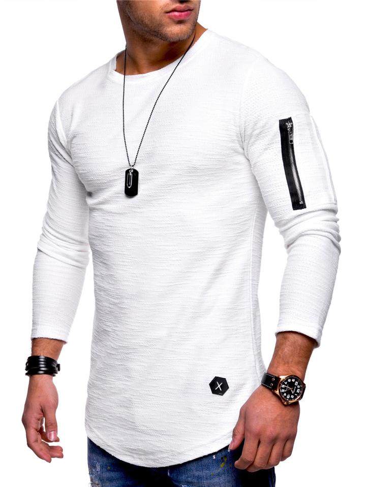 Men T-shirt Long Sleeve Casual Zipper T-shirt Solid Pullover Sweatshirt Men Shirt white l cotton