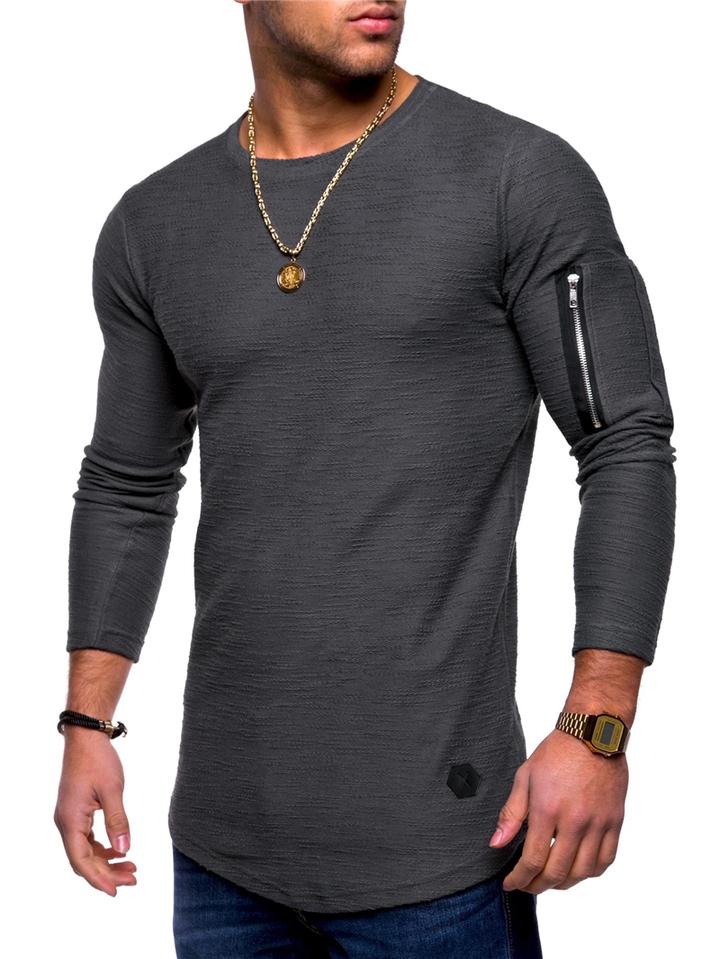 Men T-shirt Long Sleeve Casual Zipper T-shirt Solid Pullover Sweatshirt Men Shirt gray l cotton