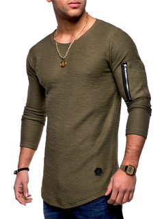 Men T-shirt Long Sleeve Casual Zipper T-shirt Solid Pullover Sweatshirt Men Shirt armygreen xl cotton