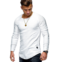Fashion Men's Round Neck Slim Solid Color Long-sleeved T-shirt Striped Fold  Style T shirt Tops Tees white m cotton
