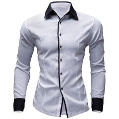 Men's Clothes Shirts Casual Shirts Hawaiian Style Slim Long Sleeve Shirts  Casual Shirts M-XXL white M