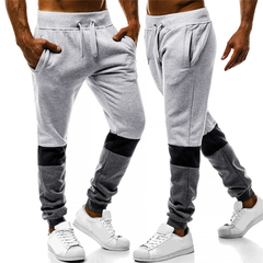 Explosion Men's Contrast Stitching Casual Sports Trousers Loose Men Wild Trend Men's Trousers light gray xxl
