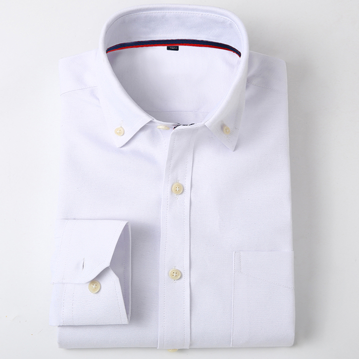Lucky Men New arrival Men's Long-sleeved Oxford Solid Color Shirt Men's Business Casual Shirt NXJF1 3XL