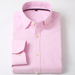 Lucky Men New arrival Men's Long-sleeved Oxford Solid Color Shirt Men's Business Casual Shirt NXJF3 s