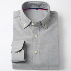 Lucky Men New arrival Men's Long-sleeved Oxford Solid Color Shirt Men's Business Casual Shirt NXJF7 xl