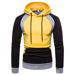 Lucky Men Sweater Hot Sell Men's Tops Hooded Color Sweater Large Size Sweater Jacket yellow m