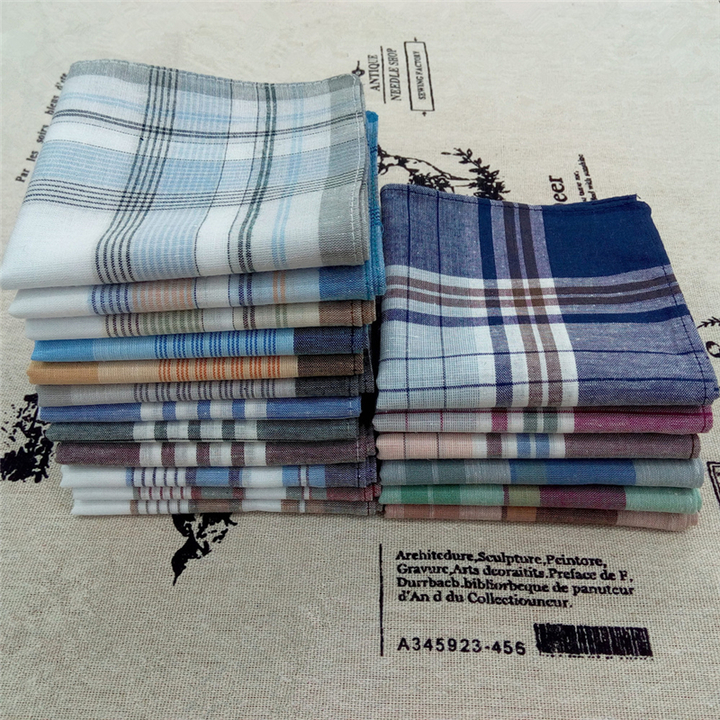 Men's Fashion Accessories 100% Cotton Plaid Men's Handkerchief For Men Gift  Random Color Random Color 40*40cm