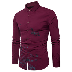 Lucky Men Four Seasons Long-sleeved Men's Shirts Printed Gold Powder Tide Models Hollow Shirts red wine m