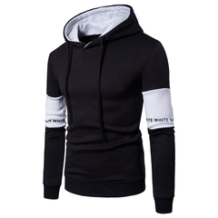 Men's New Arrival European Code Casual Hoodie Sweater Men's Korean Sleeve Splicing Turtleneck Jacket black xxl