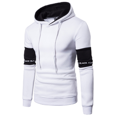 Men's New Arrival European Code Casual Hoodie Sweater Men's Korean Sleeve Splicing Turtleneck Jacket white xxl