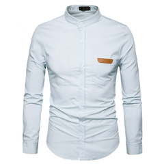 Men's Fashion Pockets Leather Stand Collar Denim Long-sleeved Shirt Men's Version Of the Solid Color white s