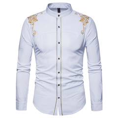 Lucky Men New Arrival Fashion Men's European and American Court Embroidered Long-sleeved Shirt white s