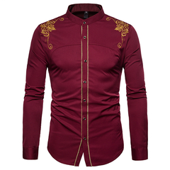 Lucky Men New Arrival Fashion Men's European and American Court Embroidered Long-sleeved Shirt red wine xl