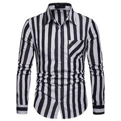 Lucky Men Fashion Men's Business Stripes Casual Long Sleeve Shirt black s