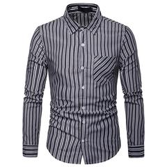 Lucky Men Fashion Men's Business Stripe Casual Long Sleeve Shirt black s