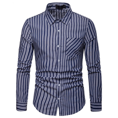 Lucky Men Fashion Men's Business Stripe Casual Long Sleeve Shirt dark blue s