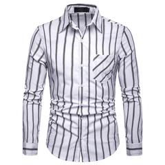 Lucky Men Fashion Men's Business Stripe Casual Long Sleeve Shirt white s