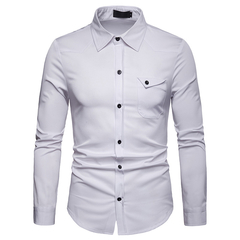 Lucky Men Fashion Men's Business Solid Color Casual Long Sleeve Shirt white s