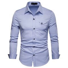 Lucky Men Fashion Men's Business Solid Color Casual Long Sleeve Shirt light blue m