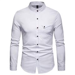 Lucky Men Fashion Men's Business Henry Collar Casual Long Sleeve Shirt white s
