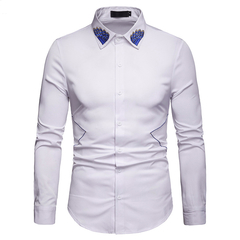 Lucky Men Fashion Men's Business Lapel Embroidered Casual Long Sleeve Shirt white s
