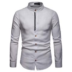 Lucky Men Fashion Men's Business Casual Linen Long Sleeve Shirt white s