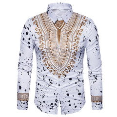 Lucky Men New Fashion Men's Ethnic floral flower 3D Three-dimensional Printed Long-sleeved Shirt white m