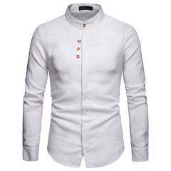 Lucky Men Fashion Men's Business Casual Linen Long-sleeved Shirt white s