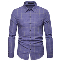 Lucky Men Fashion Men's Business Plaid Casual Long-sleeved Shirt blue s