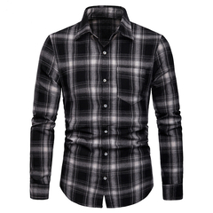 Lucky Men Fashion Men's Business Lattice Casual Long-sleeved Shirt black s
