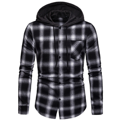 Lucky Men Fashion Men's Business Lattice   Plaid Casual Hooded Long Sleeve Shirt black s
