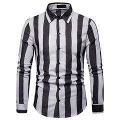 Lucky Men Fashion Men's Business Stripe Casual Long Sleeve Shirt black s