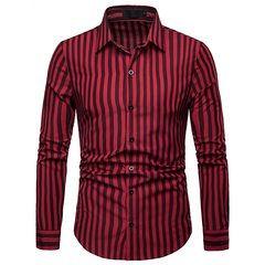 Lucky Men Fashion Men's Business Stripe Casual Long Sleeve Shirt red s