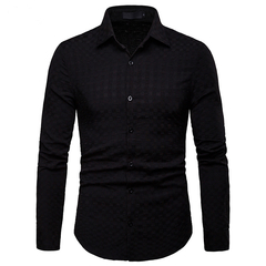 Lucky Men Fashion Men's Business Plaid Casual Long-sleeved Shirt black s