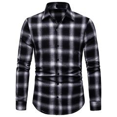 Lucky Men Fashion Men's Business Plaid Casual Long Sleeve Shirt black s