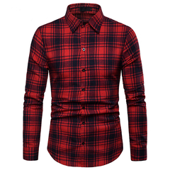 Lucky Men Fashion Men's Business Plaid Casual Long Sleeve Shirt red xl