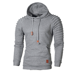 Men's Jacquard Striped Sweater Long Sleeve Hoodie Warm Color Hooded Sweatshirt Jacket gray s