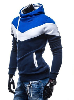 2019 New Mosaic Hooded Men's Casual Sweater Fashion Slim Hooded Sweater for Men navy 3xl