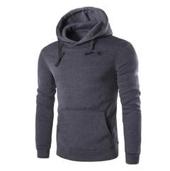 Lucky Men New Men's Fashion Slim Hooded Long-sleeved Sweater Casual Brushed Sweatshirt dark gray xxl